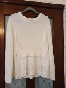 Oui White Cotton Jumper with Lace Detail Size 12 Good Condition