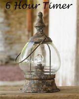 Primitive LED Lantern Carriage Style Distressed Iron & Glass w/ Timer Farmhouse