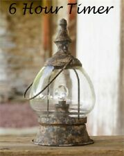 Primitive LED Lantern Carriage Style Distressed Iron & Glass w/ Timer Farmhouse