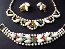 Vintage Necklace Bracelet Earrings Set Milk Glass Pastel Multicolor Rhinestones