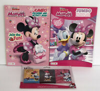 3 Pc Minnie Mouse Jumbo Coloring & Activity Books + 3 Packs Of Crayons Coloring