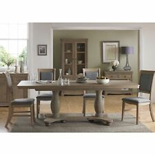 Harper Oak Furniture Grey Extending Extendable Pedestal Dining Table 180-230cm