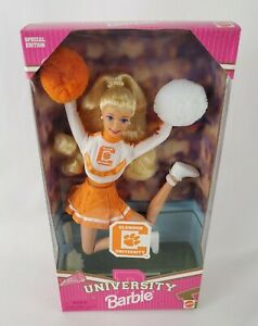 1996 Blonde Barbie Clemson University Cheerleader Jointed Bend & Move Body