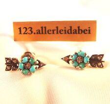 Jugendstil Türkis Ohrstecker Pfeil Blüten Ohrringe hellblauer Stein / AC 172