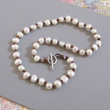 djs Sundance Sol White Pearl Brown Leather Sterling Silver Necklace Boho Chic