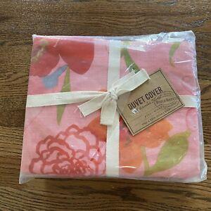 WORLD MARKET Pink Flowers Floral Queen Duvet Cover Linen Brand New Beautiful