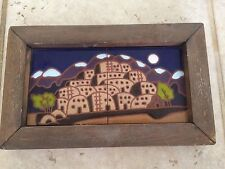 Vtg New Mexico Taos Pueblo Native American Fine Art Painted Tiles Framed