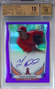 BGS 10/10 not 9.5 YENCY ALMONTE Bowman Chrome BLUE ref refractor auto RC /150