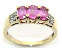 Ladies Womens  9carat Yellow Gold Pink Sapphire & Diamond Trilogy Ring Size N1/2
