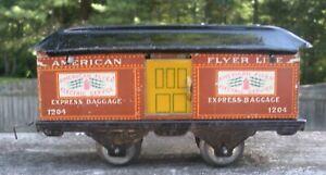 "Scarce American Flyer #1204 Lightning Bolt Tan 6 1/2""  4 Wheel Coach from 1918"