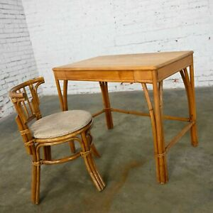 Heywood Wakefield Rattan & Maple Writing Desk & Low Back Chair by Sovereign Furn