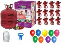 Helium Tank with 50 Balloons and White Ribbon + 12 Weights + Balloon Tying Tool