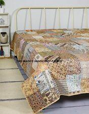 King Size Kantha Quilt Patola Silk Indian Patchwork Vintage Handmade Bedspread