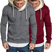 Men Fleece Hooded Hoddies Sweatshirt Pullover Outwear Coat Size M/L/XL/2XL/3XL