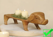 Primitive TREEN carved Large PIG Serving Tray CENTERPIECE bread Candles
