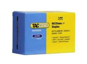 "Tacwise 90 / 25mm 1"" Narrow Crown Staples (Box of 5000) Galvanised 90 Series"