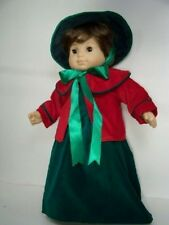 Christmas GREEN RED Caroling Dress & Hat Doll Clothes For Bitty Baby Girl (Debs)