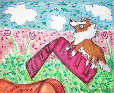 Sheltie Climbing the A-Frame Agility Collectible Dog Pop Art Print 8 x 10 Ksams