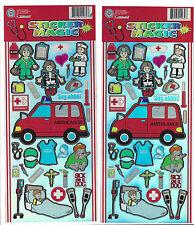 Hospital Doctor Nurse Medical Sticker Sheets Lot of 2 Cartoon Stickers Over 60