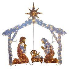 "Nativity Scene Christmas Outdoor Set Pre-lit 200 Clear Lights Yard 48"" x 58"""