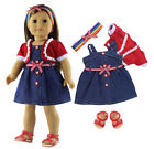 """Doll Clothes for 18"""" American Girl Doll Handmade 3 PCS Casual Wear Clothes+Shoes"""