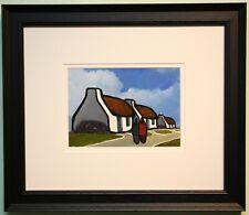 Irish Art Original Framed Painting IRISH COTTAGES & SHAWLIES by Eileen Gallagher