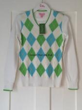 NWT $138 Lilly Pulitzer NANCY Argyle SWEATER X-Small XS 0 2 Cotton Summer SALE!