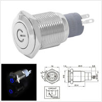 DC12V 3A 16mm Stainless Steel Blue LED Autos Off-Road Button Switch Push ON//OFF
