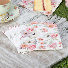 16 x Vintage Style Tea Party Napkins Shabby Chic Flower Buffet Wedding Napkins