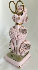 Vtg 1940's Pink Spaghetti Poodle Pin Cushion Scissor Holder Sewing Japan Ardalt