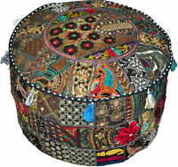 XL Black pouf Ottoman Bohemian Embroidered Footstool Decorative Tuffet bean bag