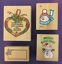 Four Rubber Christmas Stamps Loving Hands warm HeartsHandmade ByReindeer Snowman