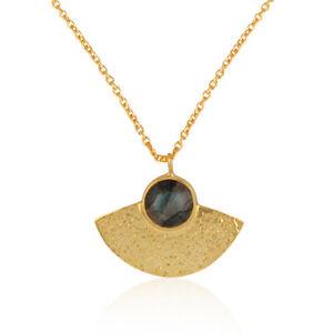 Labradorite Gemstone 925 Silver Gold Plated Women's Chain Pendant Jewelry