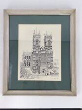 Westminster Abbey 1970's Framed Black & White Lithograph By Bernard Smith