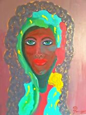 Original Oil Painting Beautiful African Woman Maiden Madonna Black Virgin Mary