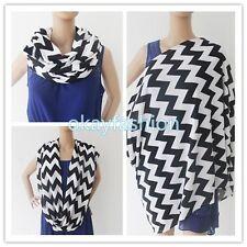 100%Cotton Infinity Nursing/Breastfeeding Scarf(Chevron Black& White)Baby Cover