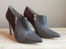 "CALVIN KLEIN ""Bessie"" Gray & Burgandy Color Block Bootie Shoe Size 6"