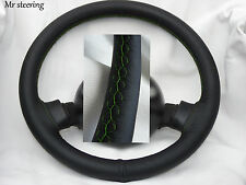 FOR PEUGEOT 505 1979-92 BLACK ITALIAN LEATHER STEERING WHEEL COVER GREEN STITCH