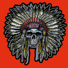 Indian Skull  EMROIDERED IRON ON 4 INCH  BIKER PATCH