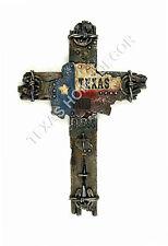 God Bless Texas Decorative Wall Cross Rustic Horseshoe Flag Barbwire Nails