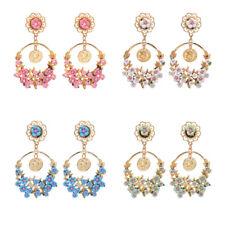 Fashion Elegant Women Resin Peach Blossom Branch Dangle Ear Stud Earrings Drop