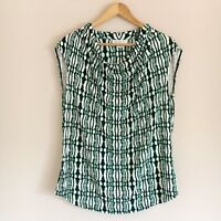 Liz Claiborne Womens Size XL Green Black White Draped Neck Tank Blouse