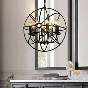 Vintage Candle Style Back Iron Globe Sphere Chain Ceiling Pendant Lights 42/52CM