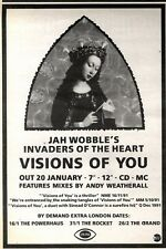 """25/1/92Pgn14 Advert: Jah Wobble visions Of You A New Single & Remixes 7x5"""""""