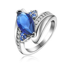 Nobby Size 8 Fashion Jewelry Blue Sapphrie Women 18K Gold Filled Wedding Rings