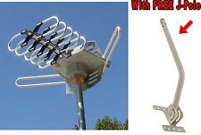 HDTV Outdoor Amplified Antenna HD TV 360° 36dB Rotor Remote UHF/VHF/FM 120 Miles