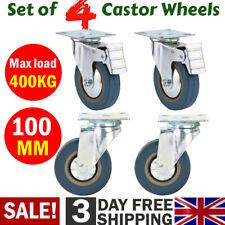 4x Heavy Duty 100mm Solid Rubber Swivel Castor Wheels Trolley Caster Brake 400KG