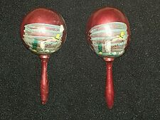 """Vintage set of Handcrafted & hand painted 7"""" Mexican Maracas musical instrument"""
