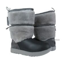 UGG Reykir Waterproof Metal Grey Leather Fur Boots Womens Size 7.5 *NIB*