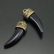 20X Antique Styel Bronze Tone Black Acrylic Horn Pendant Charms 24*9*7mm